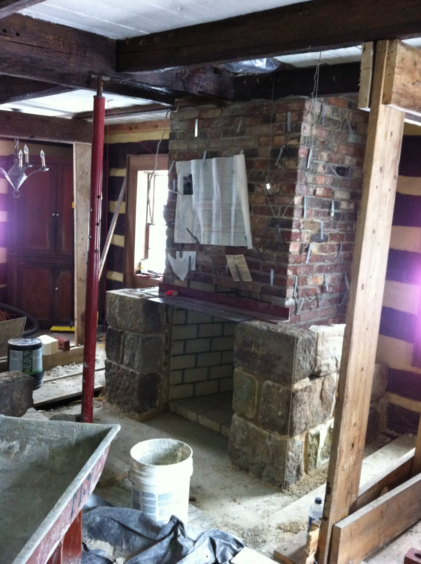 Stoned fireplace & Derry Area Historical Society - Photos of Fulton House Restoration